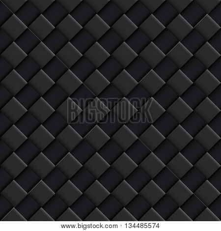 Black Seamless Pattern with Convex Square Design