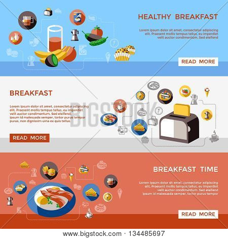 Three horizontal cereal banner set on healthy breakfast breakfast time themes vector illustration