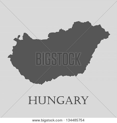 Black Hungary map on light grey background. Black Hungary map - vector illustration.