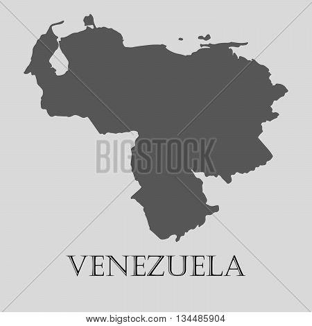 Black Venezuela map on light grey background. Black Venezuela map - vector illustration.