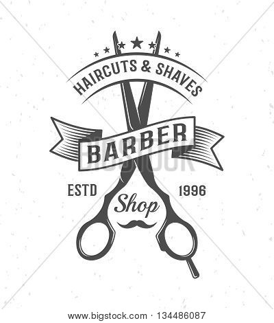 Black and white barber scissors composition with ribbon and name of barber shop vector illustration
