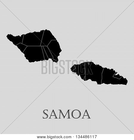 Black Samoa map on light grey background. Black Samoa map - vector illustration.