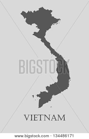 Black Vietnam map on light grey background. Black Vietnam map - vector illustration.