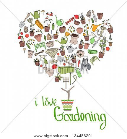 Stylized tree in cute flower pot. Topiary with gardening tools. Phrase I love Gardening.