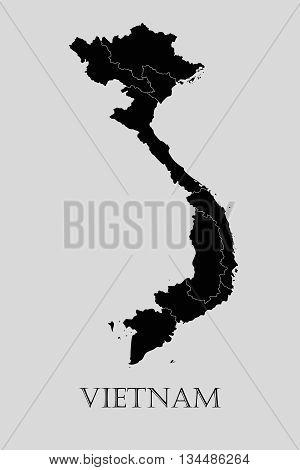Black Vietnam map on light grey background. Black Vietnam map - vector illustration.