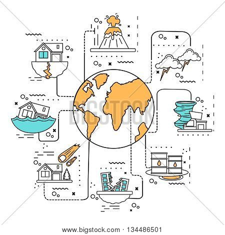 Disaster damage line concept taking place on the planet catastrophe man-made and natural vector illustration