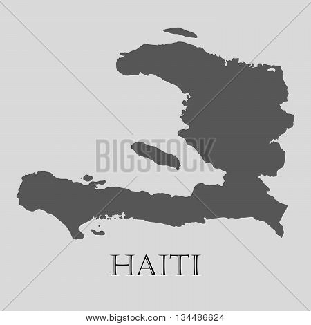 Black Haiti map on light grey background. Black Haiti map - vector illustration.