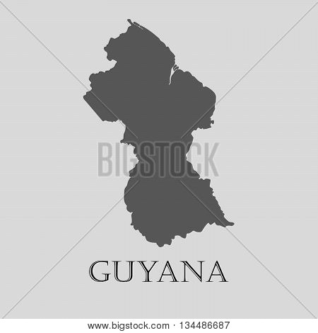 Black Guyana map on light grey background. Black Guyana map - vector illustration.