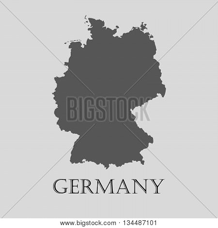 Black Germany map on light grey background. Black Germany map - vector illustration.