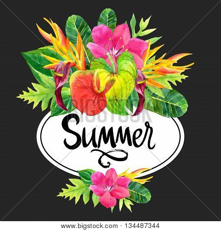 Floral illustration with tropical flowers and plants on black background. Composition with palm leaves, anthurium and strelitzia.
