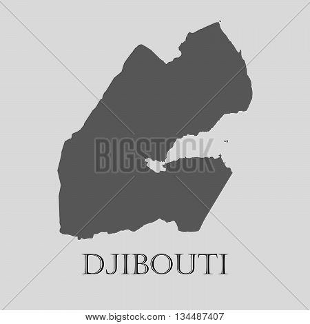 Black Djibouti map on light grey background. Black Djibouti map - vector illustration.