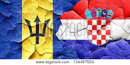 Barbados flag with Croatia flag on a grunge cracked wall