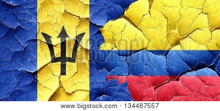 Barbados flag with Colombia flag on a grunge cracked wall