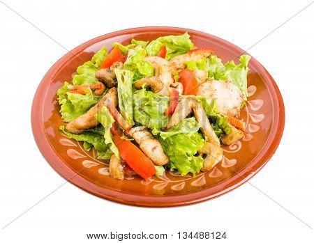 Delicious chicken salad with mushrooms and tomatoes. Isolated on a white background.