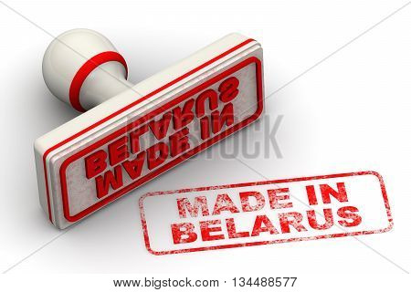 Made in Belarus. Red seal and imprint