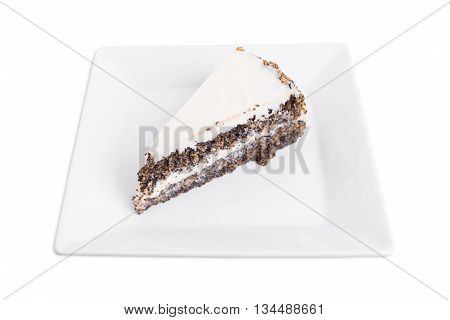 Delicious poppy seed cake with walnuts. Isolated on a white background.