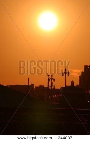 Golden Sunset Over Resort Town