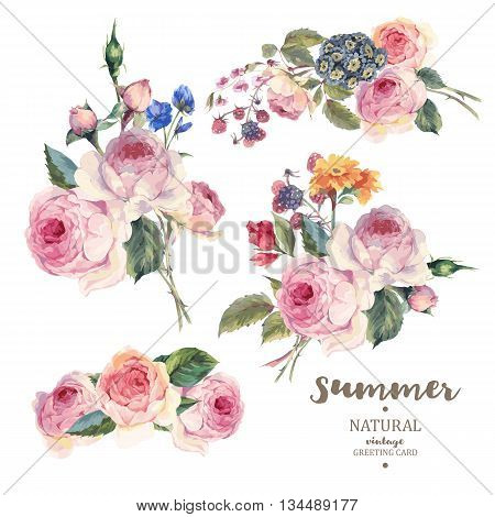 Set of vintage floral vector bouquet of English roses and wildflowers botanical natural rose Illustration on white. Summer floral roses greeting card
