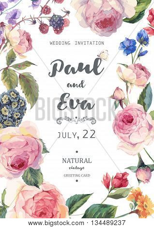 Vintage floral vector wedding invitation with English roses and wildflowers botanical natural rose Illustration. Summer floral roses greeting card
