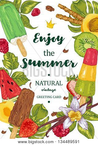 Menu fruit ice cream guest card. Tropical summer colorful flowers orchid and vanilla. Vintage vector food illustration