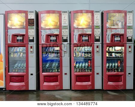 Moscow, Russia, May, 31: vending machines in exhibition center Crocuss City in Moscow, Russia
