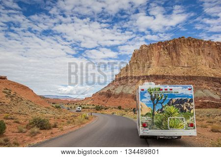 CAPITOL REEF, UT, USA - OCTOBER 3, 2015: RV on the scenic drive in Capitol Reef National Park, USA