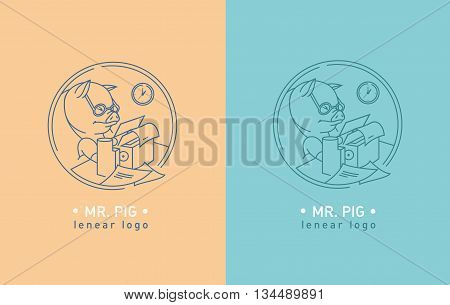 Creative logo of a pig wearing glasses for typewriter