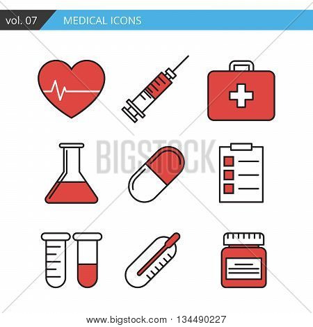 Set of medical icons executed in a linear flat style