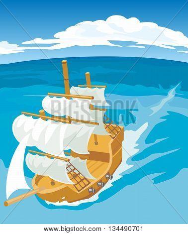 Old sailing ship on sea. Vector flat illustration.