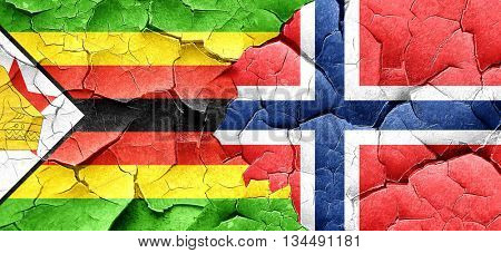 Zimbabwe flag with Norway flag on a grunge cracked wall