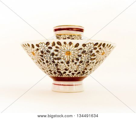 GOMEL, BELARUS - MAY 24, 2016: The Japanese porcelain (Kutani). Porcelain (also known as china or fine china) is a ceramic material made by heating materials.
