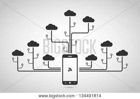 picture of mobile phone with clouds cloud computing concept data storage network technology flat style illustration.