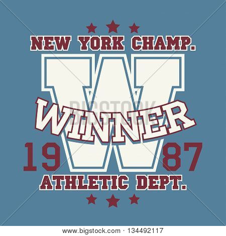 New York Sport wear typography emblem, t-shirt stamp graphics, vintage tee print, athletic apparel design graphic print. vector