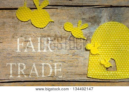 Beeswax, Bees And A Beehive On Wooden Table, Fair Trade