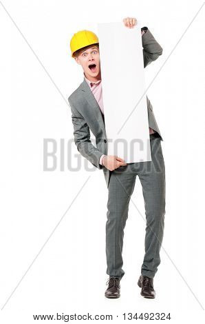 Portrait of foreman or construction worker presenting blank board, isolated on white background