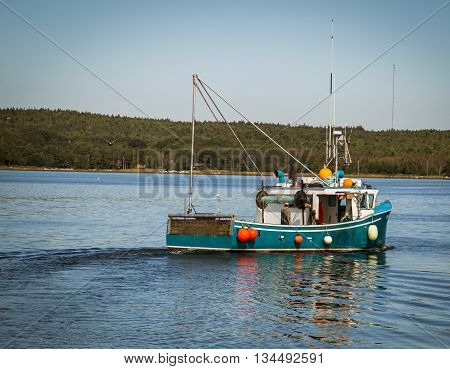 Fishing boat on the atlantic ocean of the coast of  nova scotia