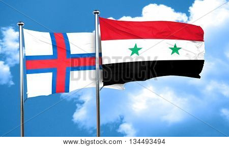 faroe islands flag with Syria flag, 3D rendering