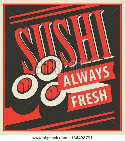Japanese food sushi with chopsticks in a retro style