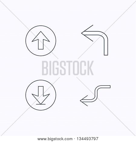 Arrows icons. Download, upload and shuffle linear signs. Turn left, back arrow flat line icons. Flat linear icons on white background. Vector