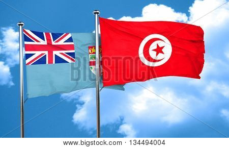 Fiji flag with Tunisia flag, 3D rendering
