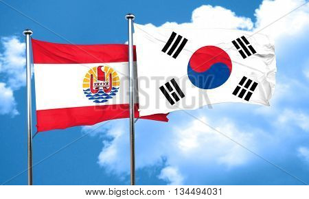 french polynesia flag with South Korea flag, 3D rendering