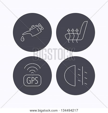 Motor oil, passing fog lights and gps icons. Heated seats linear sign. Flat icons in circle buttons on white background. Vector