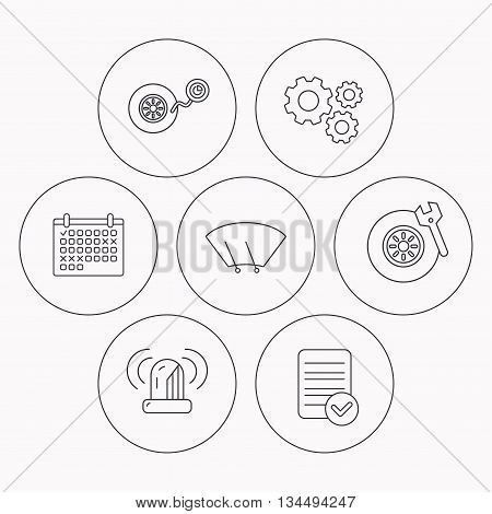 Wheel pressure, tire service and siren alarm icons. Car repair service station linear sign. Check file, calendar and cogwheel icons. Vector
