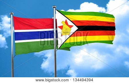 Gambia flag with Zimbabwe flag, 3D rendering