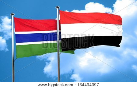 Gambia flag with Yemen flag, 3D rendering
