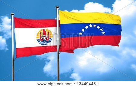 french polynesia flag with Venezuela flag, 3D rendering