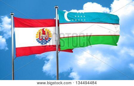 french polynesia flag with Uzbekistan flag, 3D rendering