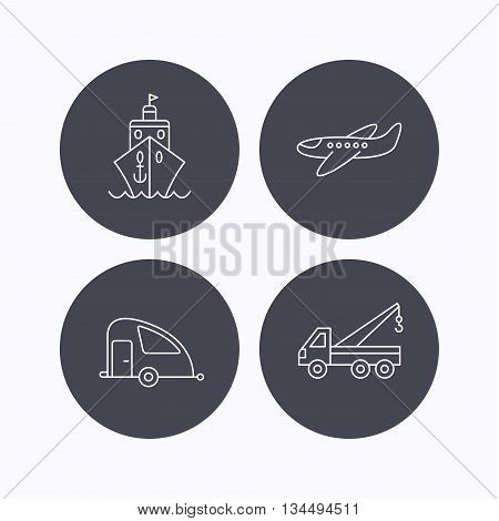 Transportation icons. Cruise, airplane and van linear signs. Evacuator flat line icon. Flat icons in circle buttons on white background. Vector