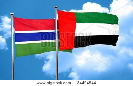 Gambia flag with UAE flag, 3D rendering