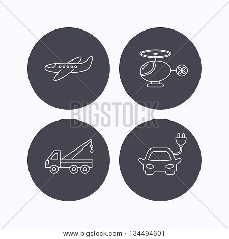 Electric car, airplane and helicopter icons. Evacuator linear sign. Flat icons in circle buttons on white background. Vector